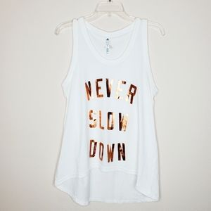 Adidas White Rose Gold Never Slow Down Graphic Tee